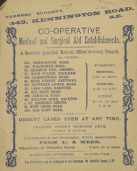 Advert for the Co-Operative Medical & Surgical Establishment